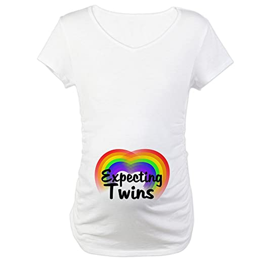 f39ba626f CafePress Expecting Twins Cotton Maternity T-Shirt, Cute & Funny Pregnancy  Tee White
