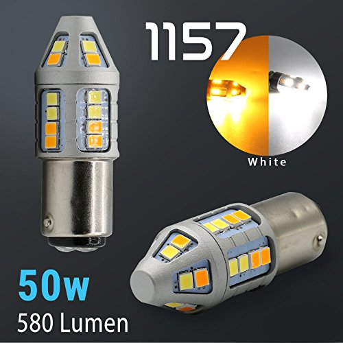 2018 High Power Projector White/Amber Dual Color Switchback LED Turn Signal Light Bulbs (1157)