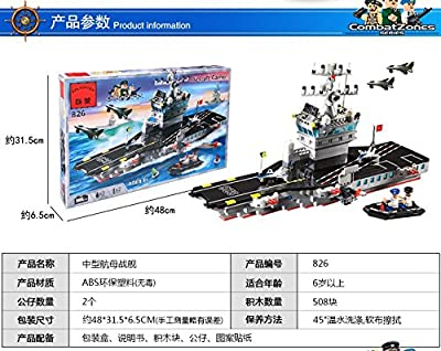 Enlighten Building Blocks Set for Kids with mini figures Combat Zone Military Series Building Bricks Medium sized Aircraft Carrier Ship Toy & patrol boat & Jet Fighter 508 pieces