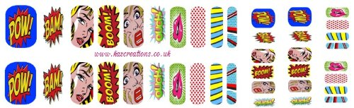 (Comic Slogan Collection (Comic Words Nail Wrap Shield adult and child sizes))