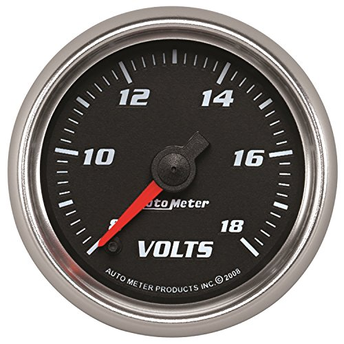 AutoMeter 19692 Pro-Cycle Digital Voltmeter Gauge 2-1/16 in. Black Dial Face Fluorescent Red Pointer Blue LED Lighting Digital Stepper Motor 8-18V Pro-Cycle Digital Voltmeter Gauge by Auto Meter