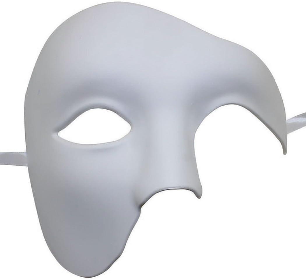 Kapmore Mascara Fantasma de la Opera Masquerade Máscara Halloween Máscara Veneciana de Fiesta DIY a Mano(Blanco)