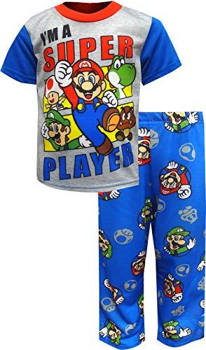 (Super Mario Brothers Boys' Big Nintendo 2-Piece Pajama Set, Multi-Player Blues, 10)