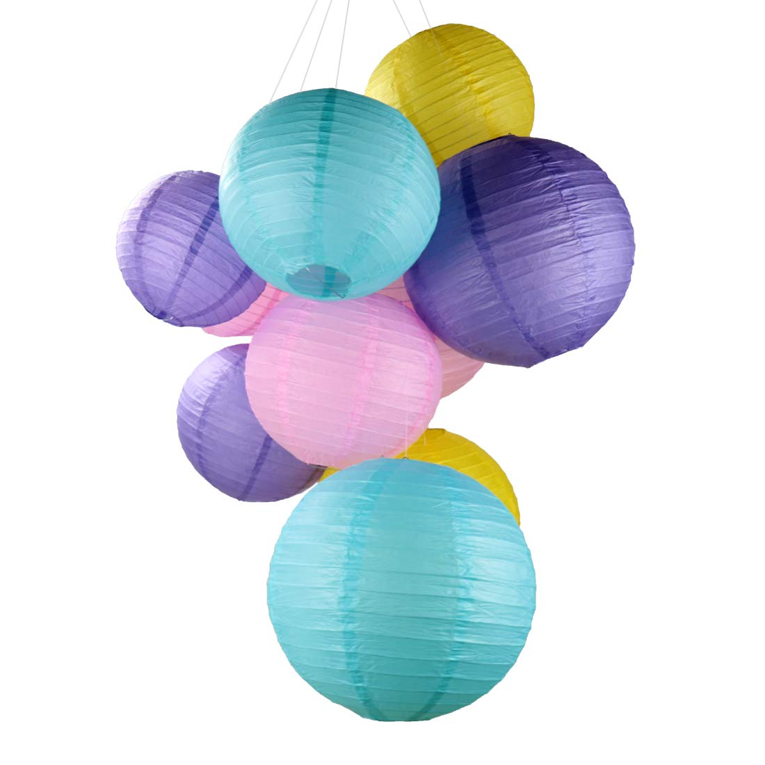 12 Packs Paper Lanterns with Assorted Sizes Macarone Cute DIY Paper Lantern for Kids and Girls Birthday Party Festival Charm