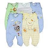 5er Set Baby Strampler 100% Baumwolle Babystrampler Strampelanzug Junge Mädchen, Farbe: Junge, Größe: 74