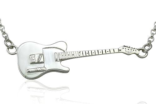 Plata de Ley Grande Rick Parfitt homenaje Fender Telecaster guitarra eléctrica colgante y collar 925: Amazon.es: Joyería