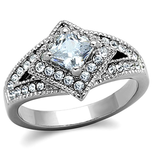 Over Stainless Steel Diamond Ring - Women's Halo Clear Princess Cut CZ Stainless Steel Engagement Ring,Size:9