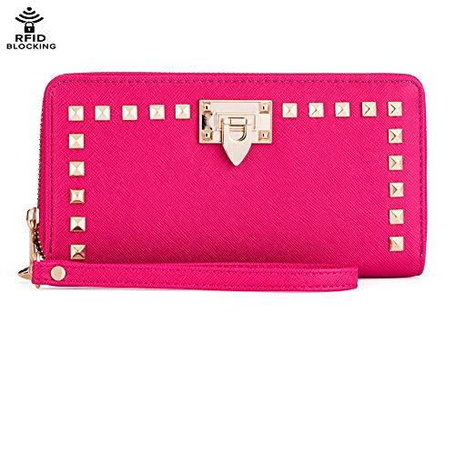 Studded Wristlet Wallet Purses Cell Phone Holder Women Travel RFID Blocking Zip Around Clutch Credit Card Checkbook Pocket