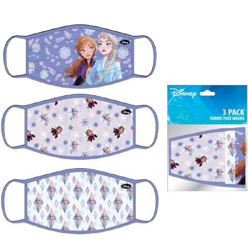 Disney Frozen Movie Girls Elsa And Anna Cloth Reusable Face Masks (3 Pack)