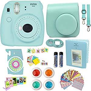 Fujifilm Instax Mini 9 Instant Camera Ice Blue + Blue Camera Case + Frames + Photo Album + 4 Color Filters And More Top Accessories Kit