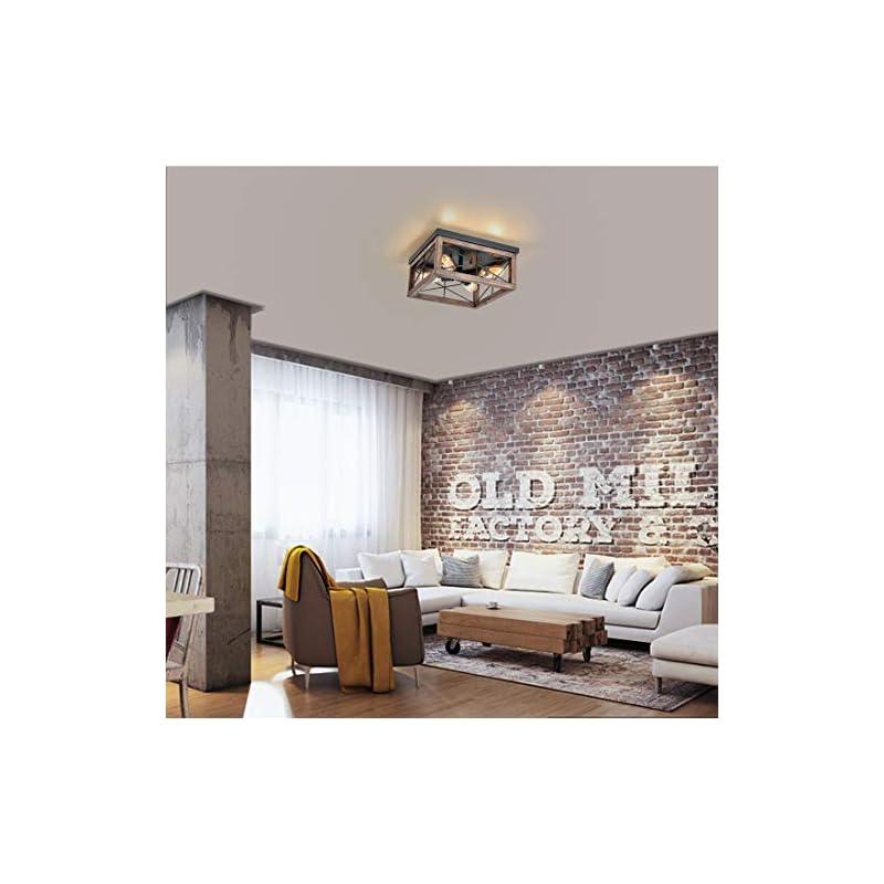 Eyassi 4-Light Wooden Flush Mount Ceiling Lights, Vintage Farmhouse Close to Ceiling Light Fixture, Rustic Industrial…