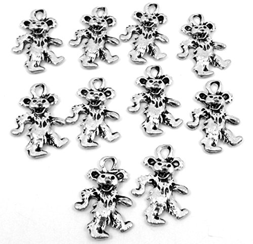 Set of Ten (10) Silver Tone Pewter Grateful Dead Dancing Bear Charms (5069)