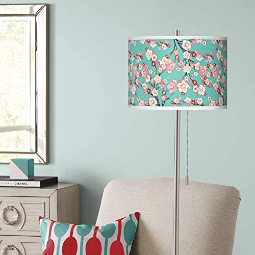Cherry Blossoms Brushed Nickel Pull Chain Floor Lamp - Giclee Glow