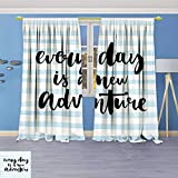 Philiphome Pattern Decor Artistic Window Curtain by, Every Day is a New Adventure Calligraphy Text Watercolor Stripes Print Light Blue,Living Room Bedroom Decorations