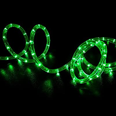 WYZworks Green LED Rope Lights - Flexible 2 Wire Indoor / Outdoor Accent Holiday Christmas Party Decoration 110V Lighting