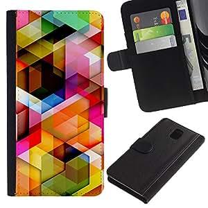 """Samsung Galaxy Note 3 III N9000 N9002 N9005 , la tarjeta de Crédito Slots PU Funda de cuero Monedero caso cubierta de piel ("""" 3D Polygon Pattern Maze Dimensional"""")"""
