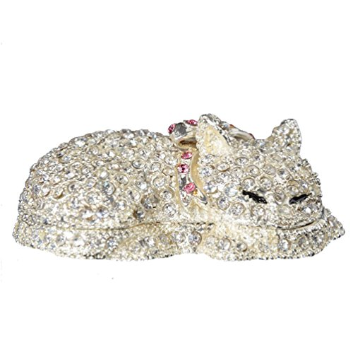 Bejeweled Box Cat Trinket - Minihouse Cat Trinket Box Metal Enameled Fox Figurine Collectable Wedding Jewelry Box