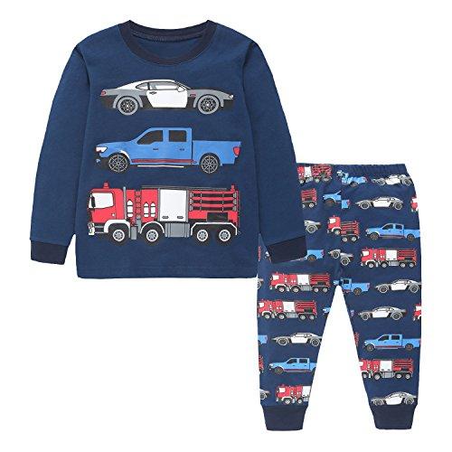 Toddler Boys Car Pajama Set Kids 2 Pieces T-shirt & Pants Clothing (Flannel Pj Shirt)