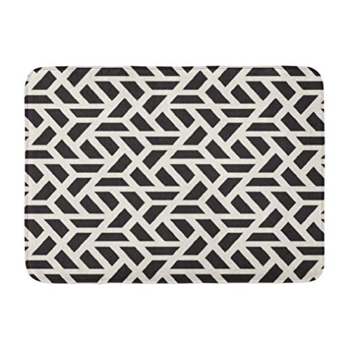 Lattice Pattern,Darkchocl Decorative Bath Mat Modern Stylish Texture Geometric Tiles Absorbent Non Slip 100 Flannel 17 L X 24 W for Bathroom Toilet Bath Tub Living Room