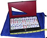 Dominoes Jumbo / Tournament WHITE with Color Pips _ Double Six Set of 28 Dominoes _ Bonus Blue Net Drawstring Storage Pouch _ Bundled Items