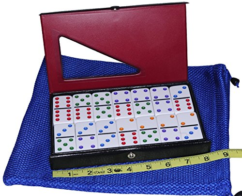 Jumbo Double Six Dominoes - Dominoes Jumbo / Tournament WHITE with Color Pips _ Double Six Set of 28 Dominoes _ Bonus Blue Net Drawstring Storage Pouch _ Bundled Items