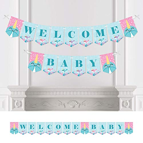 Big Dot of Happiness Narwhal Girl - Under The Sea Baby Shower Bunting Banner - Party Decorations - Welcome Baby (Narwhal Baby Shower)