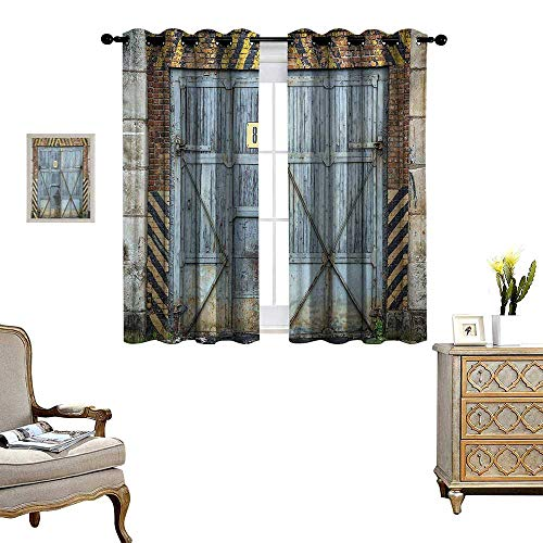 - Industrial Room Darkening Wide Curtains Old Wooden Factory Gate with Warning Signs Industrial Change Modern Techno Theme Decor Curtains by W72 x L63 Multicolor