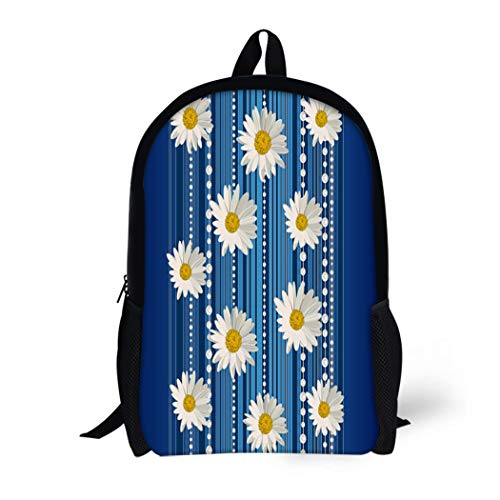 Pinbeam Backpack Travel Daypack Beautiful White Daisy Flowers on Blue Stripes Waterproof School Bag