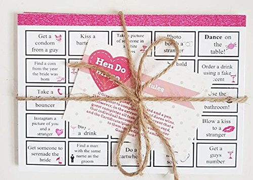 Hen Do Bingo: Hilarious Hen Party Dare Game including 20 Professionally Printed Bingo Cards - guranteed to create a fun atmosphee, Hen Night Games, Hen Party Bingo, Hen Night Bingo Hewson's Gifts