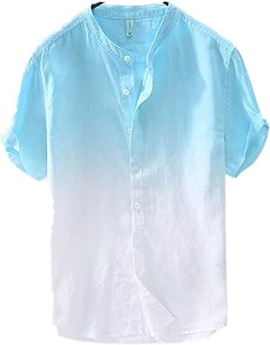 Camisa De Manga Corta Casual De AlgodóN Y Lino con Estampado ...
