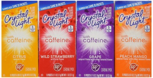 Crystal Light With Caffeine Variety Pack (40 Total Packets) Gluten Free