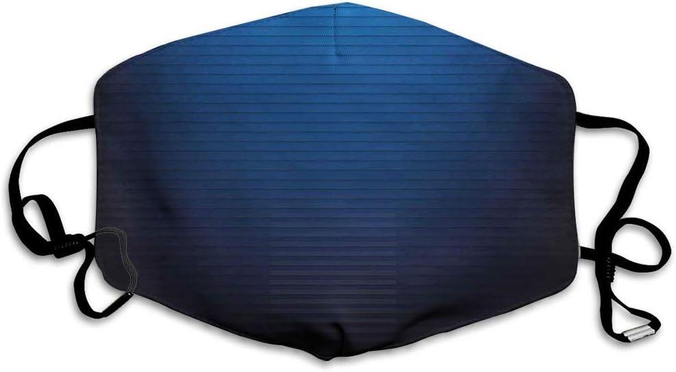 Cómoda máscara a Prueba de Viento, Azul Marino, líneas horizontales Digitales Ombre Effects Ilustración de Arte de Estilo Urbano Moderno, Azul