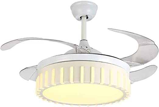Ventilador de techo de araña 4 Aspa retráctil Ventilador de techo con luz Lámpara de techo de control remoto de 42 pulgadas Lámpara de iluminación de oscurecimiento moderna, conversión de frecuencia: Amazon.es: