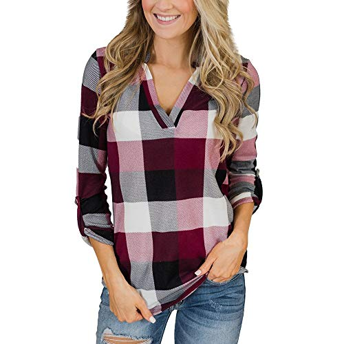 Mingfa Womens Blouses Long Sleeve Checked Plaid Shirt V Neck Casual Tops for 2021 Christmas New Year Valentine's Day