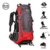 Cheap AMERIGUY 70L(65+5) Waterproof Outdoor Backpack, Hiking Camping Backpack,Foldable & Packable for Outdoor Climbing and Travel,Mountaineering Backpack Waterproof for Men Women.(Red)
