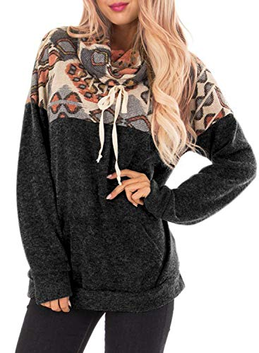 FARYSAYS Womens Cowl Neck Floral Printed Patchwork Long Sleeve Drawstring Pullover Sweatshirt Tops
