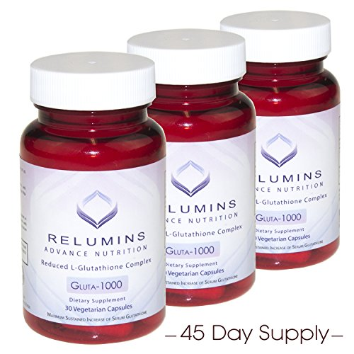 3 Bottles Relumins Advance Nutrition Gluta 1000 - Reduced L-Glutathione Complex - 30 Caps Per Bottle…