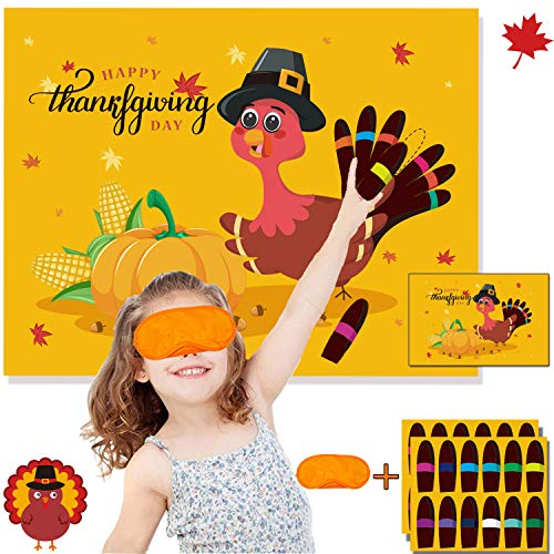 Funnlot Thanksgiving Party Games for Kids Thanksgiving Games Pin The Tail on The Turkey Thanksgiving Party Decor Thanksgiving Games and Activities Thanksgiving Pin The Tail (Turkey Games)