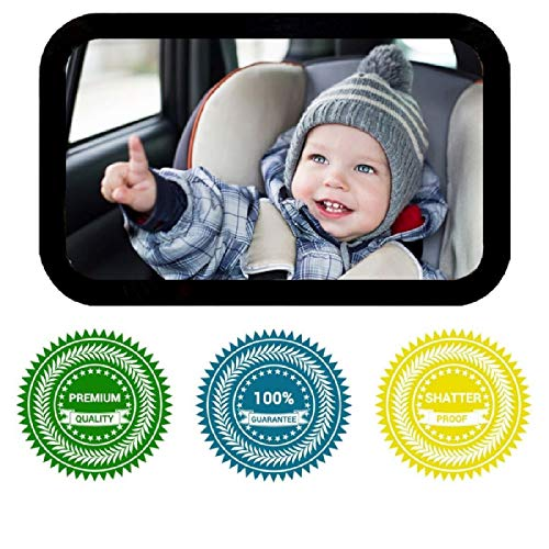 Baby Backseat Mirror- Rear Facing Large Shatterproof Adjustable Infant Car Seat Mirror - Crystal Clear View - Secure Double Straps - Free Baby on Board Sticker - Baby Registry a Must -100% Guarantee