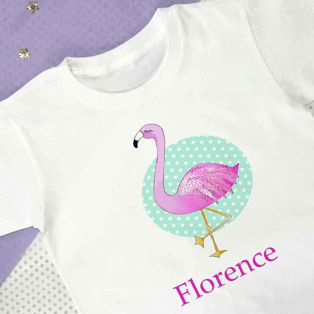 Flamingo T shirt, Personalised T Shirts, Girls Personalised Tops, age 1 to 11 years old (1-2) tigerlilyprints