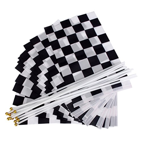 Fityle 12Pcs Black & White Chequered Formula 11.8 X 7.9 One F1 Racing Banner (F1 Racing Flags)