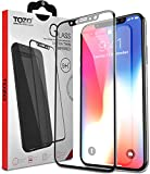 TOZO for iPhone X Screen Protector Glass [ 3D Full Frame ] Technology Premium Tempered 9H Hardness 2.5D PET [Soft Edge Hybrid] Super Easy Apply [Black]