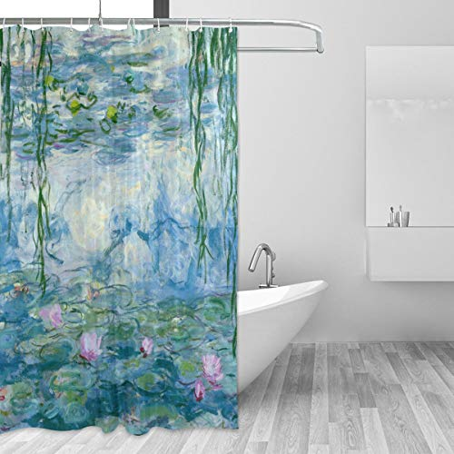 "Home Decor Shower Curtain Water Lilies by Claude Monet Oil Paintings Flowers Waterproof Resistant, Fabric Bathroom Decor Set with 12 Hooks, 72"" x 72"""