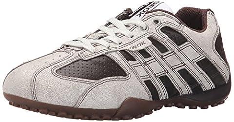 Geox Men's Uomo Snake Fashion Sneaker, White/Coffee Crackle Leather/Suede, 47 M US - Uomo Mens Fashion