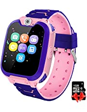 PTHTECHUS Kids Game Smart Watch Phone, HD Touch Screen Wrist Smartwatch for 3-12 Year Old Boys Girls with Camera music player Alarm Clock 7 kinds Games Mobile Sim Card Toys Childrens Gift, Pink