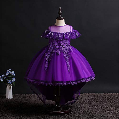 QZ Girls Flower Dress Children's Embroidered Round Neck Tuxedo Dress Toddler Girl Halloween Costumes Teenage Prom Dresses 3-11Y,Purple,120CM ()
