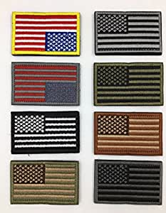 American Flag Embroidered Patch Gold Border USA United States of America Military Uniform Iron On Sew On Emblem , Set of 8