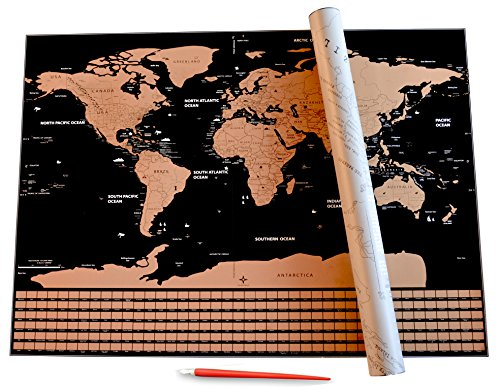"""Scratch Off World Map with US States & Country Flags By Lumin-Us   Personalized Travel Tracker   See It - Scratch It - Save It   23.4"""" x 33.3""""   Precision Scratch Tool Included"""