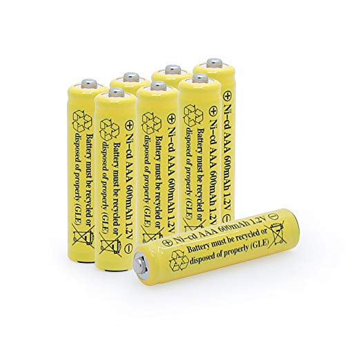 BAOBIAN 1.2v AAA 600mAh NICD Rechargeable Battery for Outdoor Solar Lights,Garden Lights, Remotes, Mice (Yellow 8 PCS)