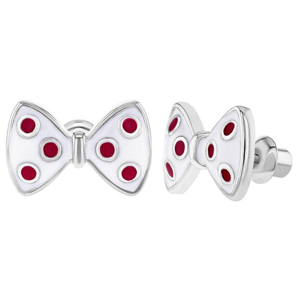 In Season Jewelry - Enfants Filles - Boucles d'oreilles - Plaqué Rhodium - Émail Rose - Motif à pois - Nœud - Tiges poussettes sécurité à vis 03-0008-A